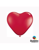 "6"" Ruby Red Latex Heart Balloons 100pk"