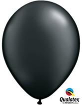 "11"" Pearl Onyx Black Latex Balloons 100pk"
