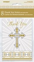 Golden Radiant Cross Thank You Cards & Envelopes 8pk