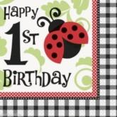 Ladybird 1st Birthday Napkins 16pk
