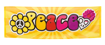 Giant Hippie 60's Peace Polyester 2.2M x 74cm Banner