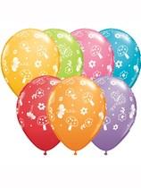 """Assorted Garden & Butterflies 11"""" Latex Balloons 25pk"""