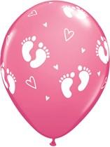 """Rose Baby Footprints & Hearts 11"""" Latex Balloons 6pk"""