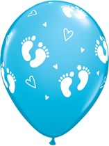 "Robin's Egg Blue Baby Footprints & Hearts 11"" Latex Balloons 25pk"