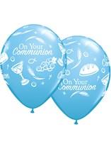 "Pale Blue Communion Symbols 11"" Latex Balloons 25pk"