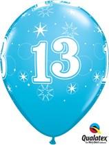 "Age 13 Sparkle Robin's Egg Blue 11"" Latex Balloons 25pk"