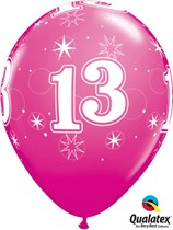 "Age 13 Sparkle Wild Berry 11"" Latex Balloons 25pk"