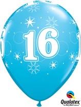 "Age 16 Sparkle Robin's Egg Blue 11"" Latex Balloons 25pk"