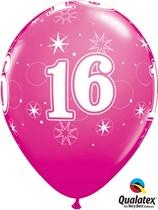 "Age 16 Sparkle Wild Berry 11"" Latex Balloons 25pk"