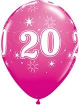 "Age 20 Sparkle Wild Berry 11"" Latex Balloons 25pk"