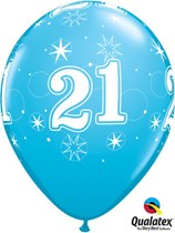 "Age 21 Sparkle Robin's Egg Blue 11"" Latex Balloons 25pk"