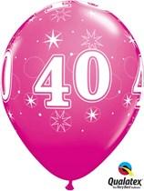 "Age 40 Sparkle Wild Berry 11"" Latex Balloons 25pk"