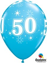"Age 50 Sparkle Robin's Egg Blue 11"" Latex Balloons 25pk"