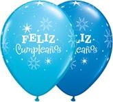 "Feliz Cumpleanos 11"" Dark Blue & Robin's Egg Blue Latex Balloons 50pk"