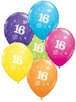 """Age 16 Assorted 11"""" Latex Balloons 25pk"""