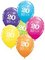 "Age 20 Latex 11"" Balloons 25pk"