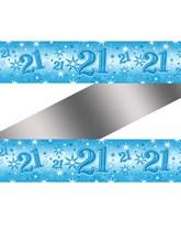 Blue Sparkle Age 21 Birthday Foil Banner