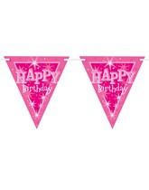 Pink Sparkle Happy Birthday Flag Banner
