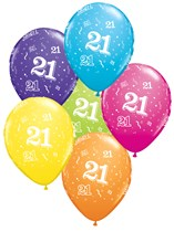 "Age 21 Latex 11"" Balloons 6pk Asst Colours"
