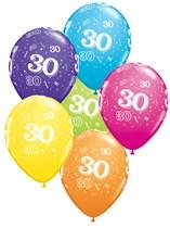 "Age 30 Latex 11"" Balloons 25pk"