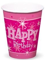 Pink Sparkle Happy Birthday Cups 8pk