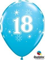 "Age 18 Sparkle Robin's Egg Blue 11"" Latex Balloons 25pk"