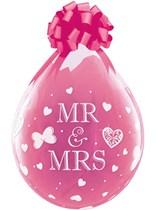 "Mr & Mrs Diamond Clear Stuffing 18"" Latex Balloons 25pk"