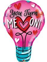 "Valentine You Turn Me On 40"" Supershape Foil Balloon"