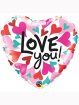 """Valentine's Day Love You Converging Hearts 18"""" Foil Balloon"""