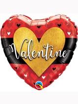 "Valentine Gold Heart 18"" Foil Balloon"