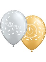 "Gold & Silver Happy New Year Confetti Countdown 11"" Latex Balloons 25pk"