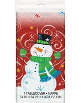 Snowman Swirl Christmas Plastic Tablecover