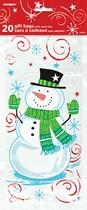 Christmas Snowman Swirl Cello Gift Bags 20pk