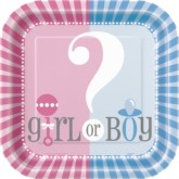 """Girl or Boy Baby Shower 9"""" Square Plates - 8pk"""