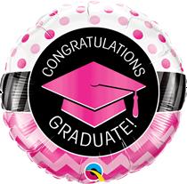 "Congratulations Graduate Pink Chevrons 18"" Foil Balloon"