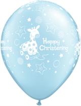 "Pale Blue Giraffe Christening 11"" Latex Balloons 6pk"