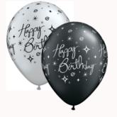 "Silver & Black Elegant Sparkles 11"" Latex Balloons 25pk"