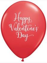 "Valentine's Day Script Red 11"" Latex Balloons 25pk"