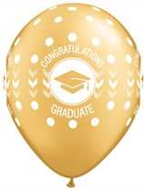 "Congratulations Graduate Gold 11"" Latex Balloons 25pk"