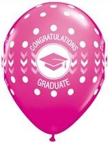 "Congratulations Graduate Wild Berry 11"" Latex Balloons 25pk"