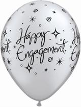 "Silver Engagement Elegant Sparkles 11"" Latex Balloons 6pk"