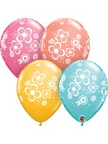 """Floral Blossoms Assorted 11"""" Latex Balloons 25pk"""
