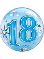 "Age 18 Blue Sparkle Bubble Balloon 22"""