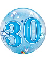 "Age 30 Blue Sparkle Bubble Balloon 22"""