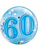 "Age 60 Blue Sparkle Bubble Balloon 22"""