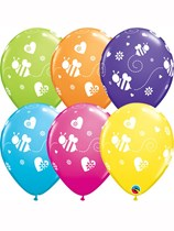 """Bees and Hearts Assorted 11"""" Latex Balloons 25pk"""