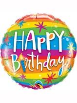 "Happy Birthday Rainbow Stripes 18"" Foil Balloon"