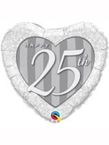 "25th Anniversary Heart Shaped 18"" Foil Balloon"