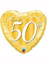 "50th Anniversary Heart Shaped 18"" Foil Balloon"
