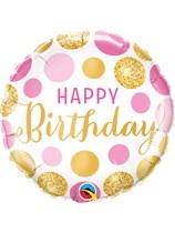 "Pink & Gold Dots Birthday 18"" Foil Balloon"